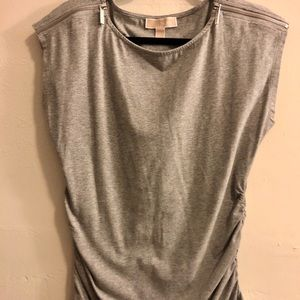NWOT Michael Kors Gray shirt silver zipper detail